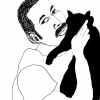 ...holding his cat/Pen and india ink on paper/24x18in/2021