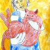 ...her cat IV/Pen and watercolor on paper/24x18in/2021