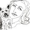 ...her dog III/Pen on paper/14x17in/2021