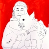...her dog IX/Pen and flashe vinyl paint on paper/17x14in/2021