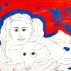 ...her dog X/Pen, flashe vinyl paint and acrylic on paper/14x17in/2021