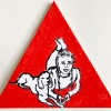 ...her dog XI/Flashe vinyl paint on triangular canvas/14x14in/2021