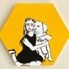 ...her dog  XII/Flashe vinyl paint and acrylic on hexagonal canvas/10x11.5in/2021