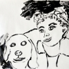 ...her dog XIII/Flashe vinyl paint on hahnemuhle paper/19x25in/2021