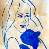 ...her blue dog/Acrylic and watercolor on paper/20x15in/2021